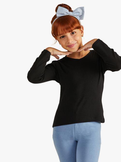 חולצת טי שרוול ארוך בגזרה צמודה