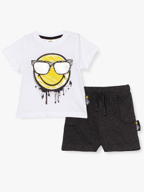 סט חולצת טי ומכנסיים קצרים סמייל-בייבי