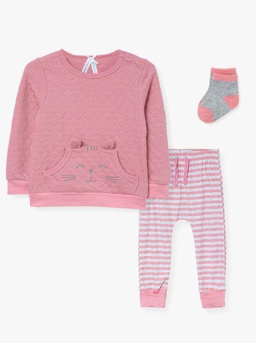 סט 3 חלקים: מכנסיים חולצה וגרביים HAPPY