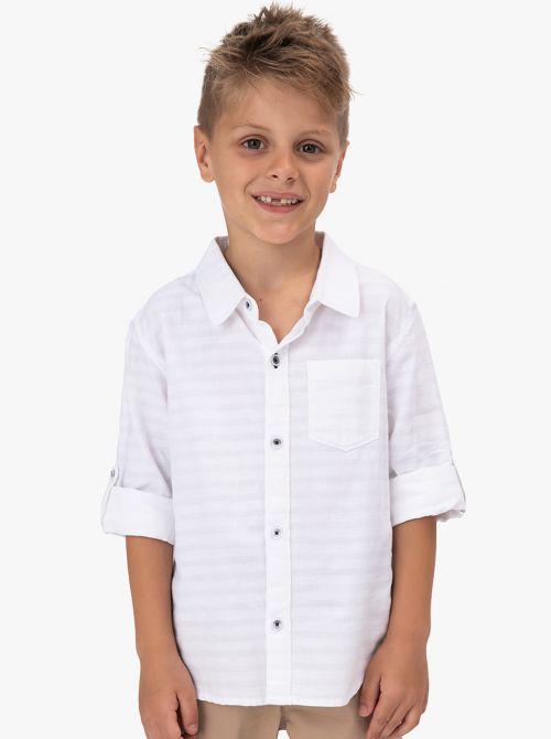 חולצת אריג לבנה שרוול ארוך מתקפל