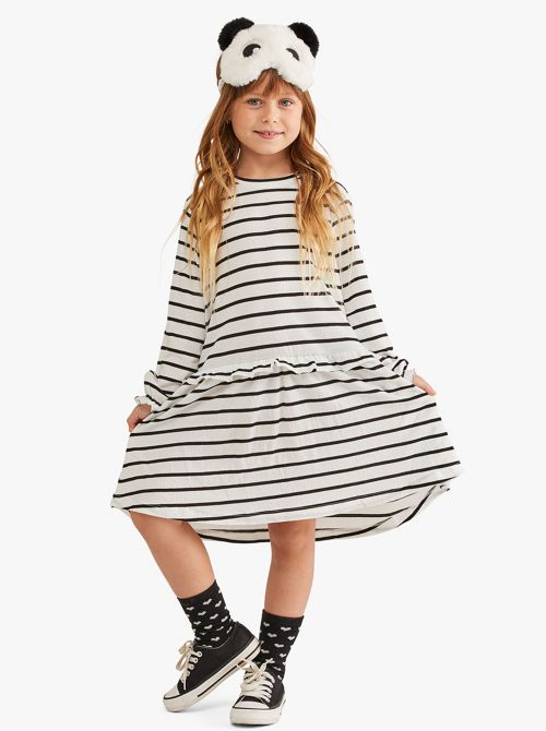 שמלת פסים רכה דקה עם שרוול ארוך