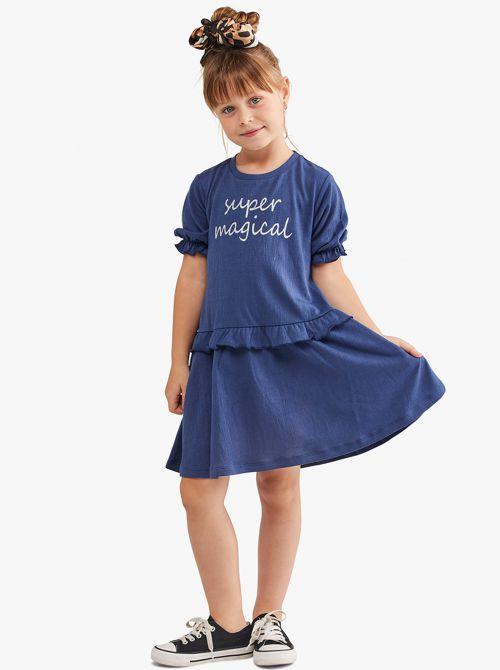 שמלה חלקה עם דפוס ושרוול קצר