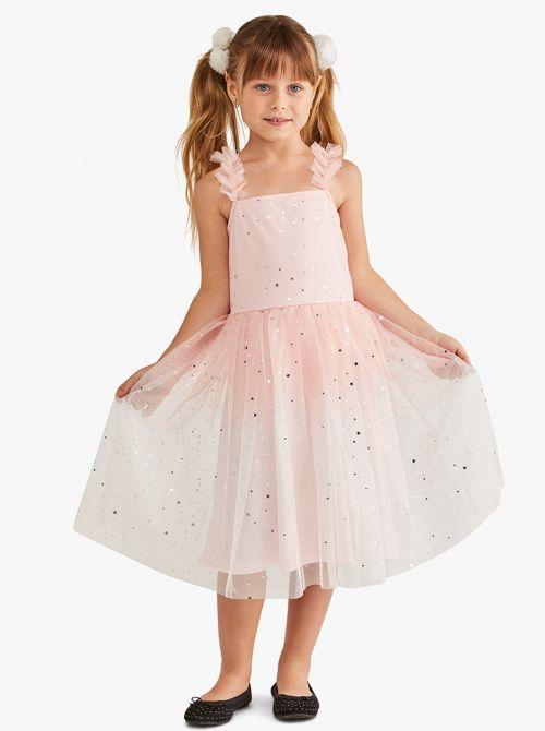 שמלת כתפיות עם חצאית מסתובבת מבד מש מנצנץ
