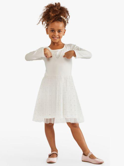 שמלה עם חצאית מבד טול מנצנץ