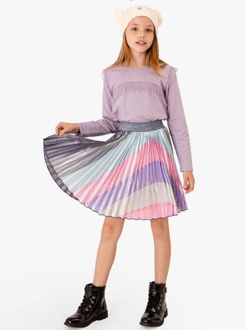 חצאית פליסה עם קשת ציבעונית