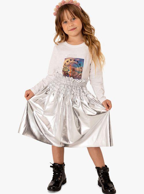 חצאית מבד דמוי עור בצבע כסף