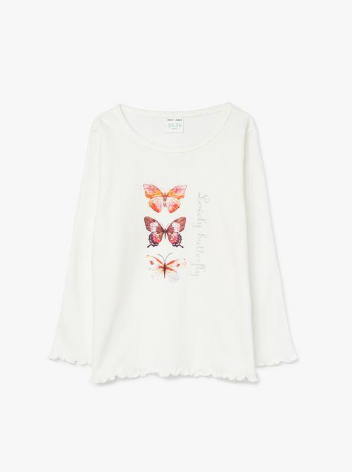 חולצה עם הדפס פרפרים